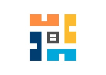 real estate logo, house,square finance company,window,doors
