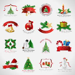 Christmas Icons Set - Isolated On Gray Background