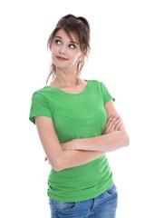 Portrait: junge Frau in Grün isoliert mit Blick zur Seite