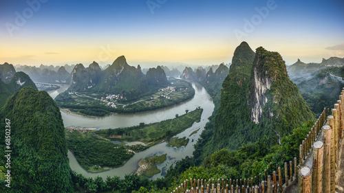 Xingping, China Landscape at Li River and Karst Mountains