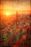 Widok na stare miasto w stylu retro Wrocław, Polska. - 68502582