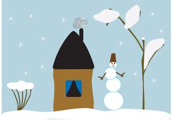 illustration snowman winter landscape house