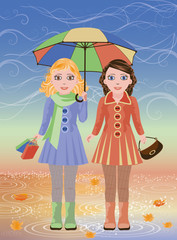 Two little girls and umbrella, autumn card