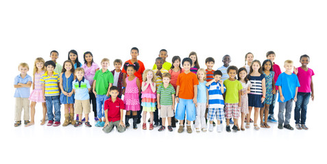 Large Diverse Group of Children