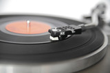 Vintage record player shot with wide aperture for abstract perce