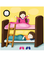 little kids on bunk bed