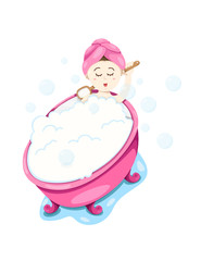 cute girl take a bubble bath