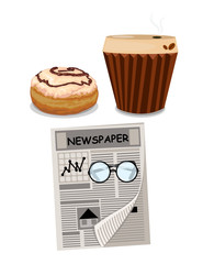 set of coffee,donut and newspaper