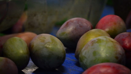 Mangoes fruit in a pack line, close up