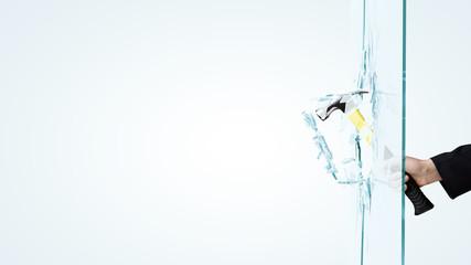 Man breaking glass