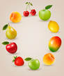 Set of healthy food fruit. Vector.