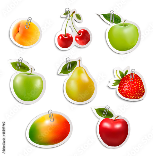Set of flat fruit stickers with paper clips. Vector.