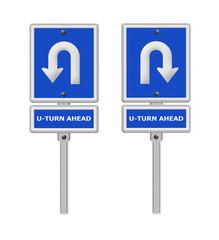 U-Turn Roadsign ,part of a series.
