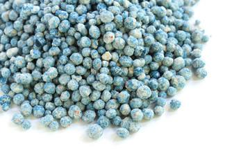 Blue fertilizer on white background