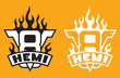 Постер, плакат: V8 Hemi engine emblem with flames and grunge option