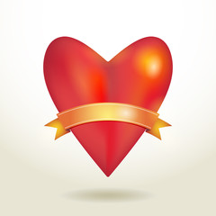 Red glossy shiny three-dimensional heart 3d and gold ribbon on a