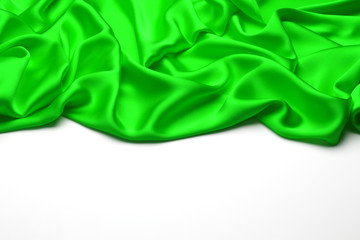 Green silk textile background with copy space