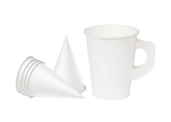 Paper coffee cup on a white background