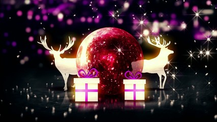 Red Crystal Bauble Christmas Deer Gift 3D bokeh Loop
