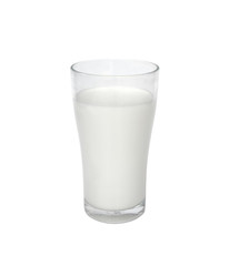 milk in the glass on white background