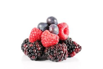 Blackberries, blueberries , raspberries on white background