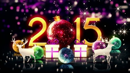Red Crystal 2015 Bauble Christmas 3D New Year Loop Animation