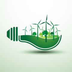 Ecology idea green bulb with windmill vector illustration