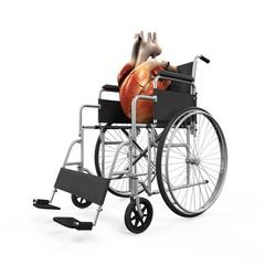 Human Heart on Wheelchair Illustration