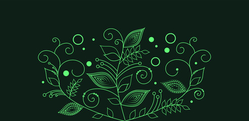 drawn abstract green flowers