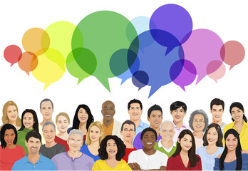 Vector of Multiethnic Cheerful People with Speech Bubble