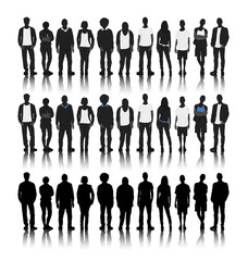 Silhouettes of Diverse People in a Row