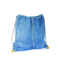Blue jeans women bag isolated at white background