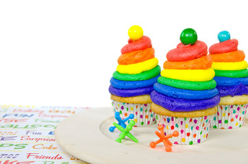 rainbow birthday cupcakes with jacks