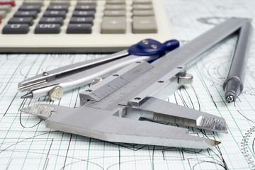 vernier callipers , calculator, compasses and drawings