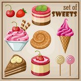 Fototapety Set of sweets