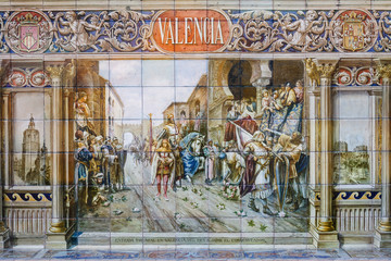 detail of decorative tiles at Plaze de Espana in Seville