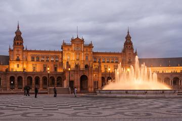 Plaza de Espana in Seville at dusk