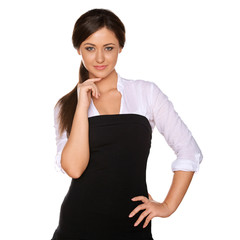 young woman in a white shirt and narrow black skirt