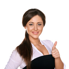 young woman showing thumb up on white background