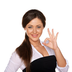 young woman showing OK sign on white background