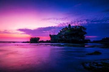 BALI Landmark Tanah Lot temple in sunset. Bali island, indonesia