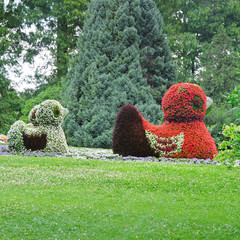 flowerbed in figures ducks