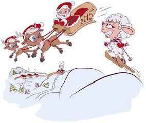 Christmas Reindeer, Santa Claus and a sheep. Symbol 2015