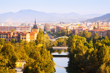 Pamplona with bridge over river