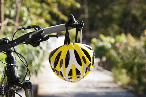 Bicycle cycling helmet closeup on bicycle outdoors