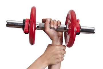 hand holding the dumbbells with help from another arm