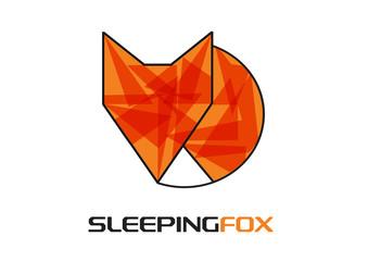 funny vector sleeping fox icon
