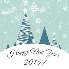 blue new year card with landscape 2015