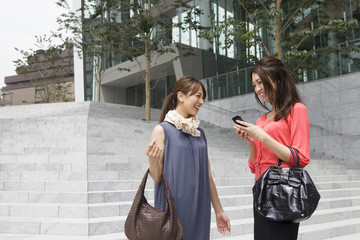 Stairs、Mobile phone、Woman