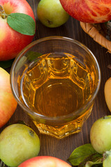 autumn drink - apple cider or juice in a glass, top view